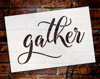 Gather - Elegant Hand Script - Word Stencil - Select Size - STCL1985 - by StudioR12
