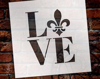 Love - Fleur-de-Lis - Square - Word Art Stencil - Select Size - STCL1991 - by StudioR12