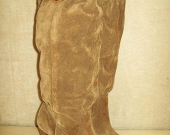 Vintage~Womens~Brown~Suede~Boots~Size 7M~Michael Kors~Tall~Knee High~Slouchy~Leather~Slouch