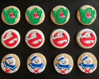 12 GHOSTbusters casper inspired vanilla sugar cookies  -Halloween Themed Birthday Party - movie - favors -