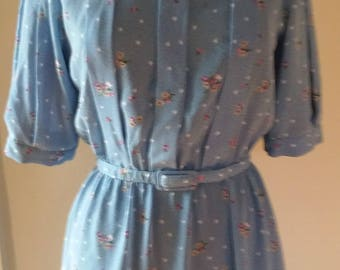 70s Floral  Summer Dress with Front Pleats