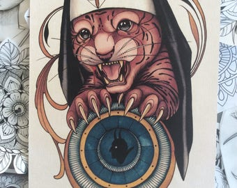 LAST ONE!! Sacreligious Cat Tiger Nun Colour Neotradiotional Tattoo Style Painting Art Print A4