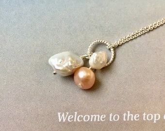 Trio Pearl Pendant, Trio Keshi Pearls and Peach Pearl Necklace, Baroque Pearl, June birthstone, Keishi Pearl Necklace, Sterling Silver