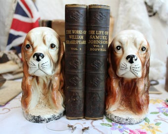 Vintage Pottery Dog Head Bookends