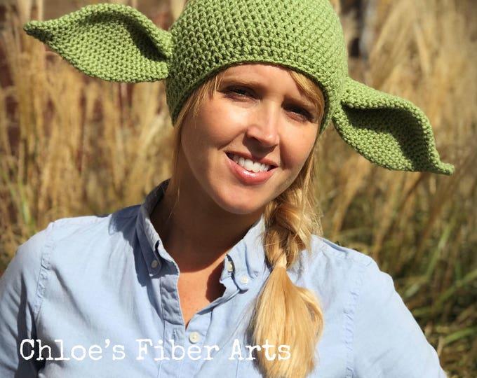 Crocheted Yoda Beanie Hat, Adult Yoda Hat, Child Yoda Hat, Halloween Costume, Star Wars Prop
