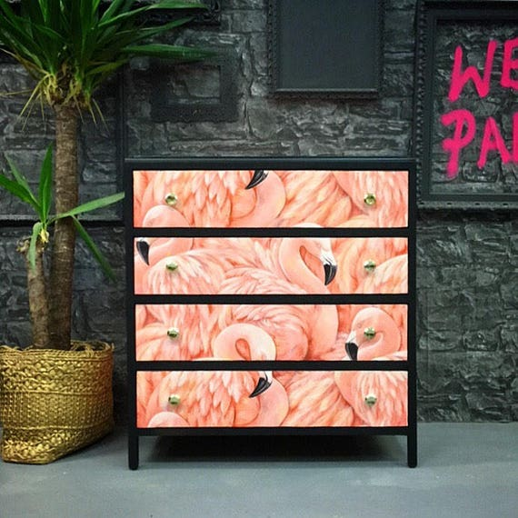 Textured flamingo chest of drawers