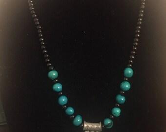 Sandalwood and acai paint seeds metal pendant . Meditation Necklaces .