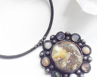 Silver Necklace, Gem Stone Necklace, Choker Necklace, Vintage Jewelry, Vintage Agate Necklace, Silver Neck Ring, Vintage Stone Choker , Vi