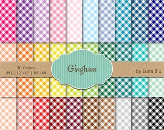 "SALE 50%OFF Gingham Digital Paper pack: ""Rainbow Gingham"" digital paper bundle, Gingham scrapbook paper, set of 30, commercial use, mega pac"