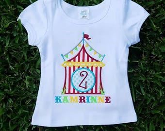 Circus Birthday Shirt - Carnival Birthday Shirt- Circus Tent Shirt - Monogrammed Circus Birthday