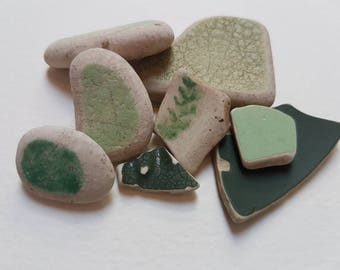 Sea Pottery, Beach Pottery, Green Pottery Pieces