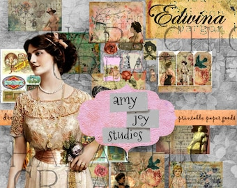 EDWINA  Shabby Chic Junk Journal  Victorian Journal  Digital Journal Kits  Ephemera Journal  Junk Journal Pack  Printable Paper  Download