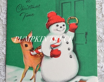 Vintage Christmas Card - Snowman and Deer with Candy Cane Knocking on Door - Used