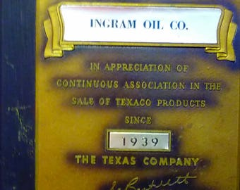 TEXACO 20th Anniversary Plaque INGRAM Oil Co since 1939 --