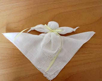 Vintage Hankie Church Doll made of Two Hand Embroidered Vintage Handkerchiefs with Hand Tatted Lace. Become Bridal Hankies on Wedding Day