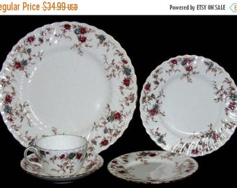 ON SALE Minton China ANCESTRAL S376 *5 Piece Place Setting Wreath Backstamp Excellent Condition a 96.00 value