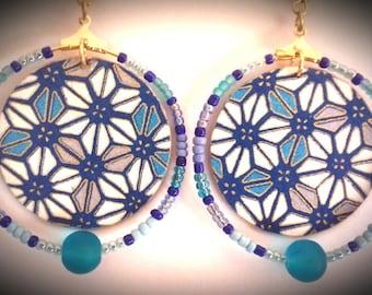 Blue hoop earrings geometric