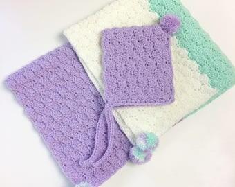 Shell Stitch Crochet Baby Blanket and Bonnet Set