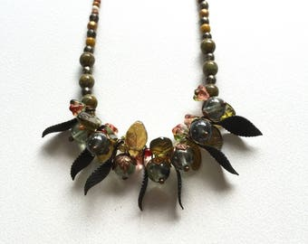 Necklace Earthy Boho Czech glass beads flowers leaves