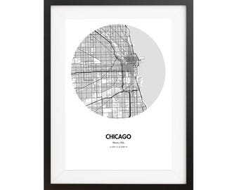 Chicago Map Poster - 18 by 24 inch Map Print
