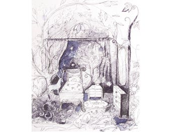 Fairy Forest Room giclee print, Fairies, Fairy Art print, Forest Room 5 x 5 inches on fine art paper