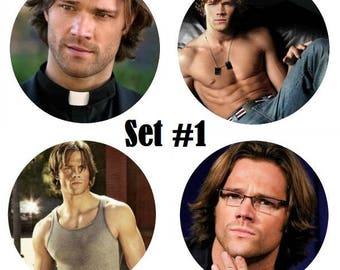 """Set of 4 Jared Padalecki Large 2.25"""" Pinback Buttons or Magnets - Choose Your Favorite Set Supernatural Sam Winchester"""