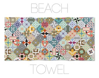 Vintage Towel, Mosaic Tile Design, Colorful Towel, Hotel Towels, Swimming Pool Towel, Barcelona Tiles
