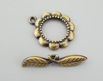 Brushed Antique Bronze Brass Flower & Leaf  Toggle Clasp, 21x18mm,  Bar: 27mm, 5 Sets
