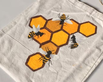 Bees Hand Painted Tote Bag