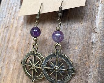 Purple Compass Earrings