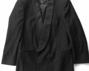 1980s Shawl Collar Double Breasted Wool Tuxedo Jacket Italy 38R
