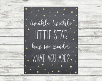Twinkle Twinkle Little Star How We Wonder What You Are Gold Glitter Gender Reveal Chalkboard Sign Party Printable