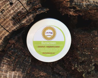 2.5oz Coconut Raspberry Seed Sunscreen- Organic. All Natural. Homemade. Vegan.