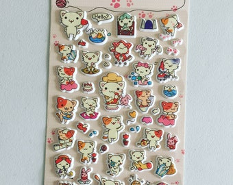 Cat Puffy Stickers, Kawaii Kitty Stickers, Animal Deco Stickers, Scrapbook Stickers, Planner Stickers, Craft Stickers, Cat Lover Gift
