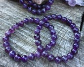Amethyst  bracelet, mala bracelet, crystal bracelet, beaded bracelet, stretch bracelet, boho, february birthstone