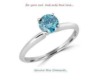 0.25 Carat Ideal Cut Round Brilliant Genuine Blue Diamond Solitaire Ring