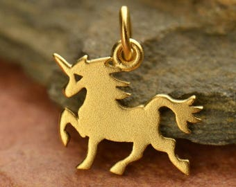 24K Gold Plated Sterling Silver Unicorn Charm. Gold Unicorn Charm.