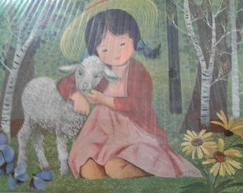 Vintage Carboard Mary Had a Little  Lamb/Mother  Goose Nursery Rhyme/  Lamb/Mary/Aspen Tree/ Sunflowers