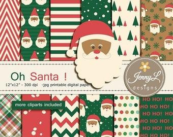 50% OFF Santa Christmas Digital Papers and Clipart, Santa Claus, Retro Christmas, Vintage Holiday Digital Papers,