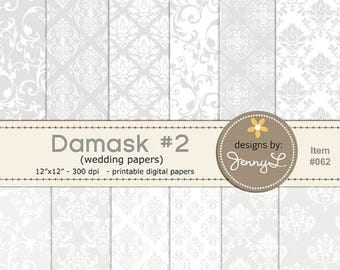 50% OFF Damask Wedding Digital Papers, Baptismal White Gray Background Papers for Digi-Scrapping, Cards, Invitations