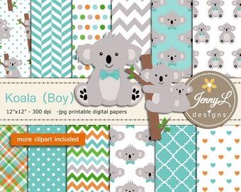 Koala Boy digital papers and clipart SET for Digital Scrapbooking, baptism, birthday invitations Planner