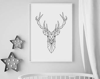 Geometric Animal Print, Deer Head Print, Nursery Prints, Black and white Animal Print, Nursery Decor, Geometric Deer, Nursery Animal Print