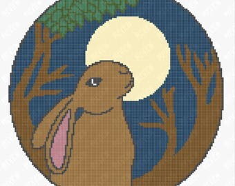 Moon Gazing Hare - Pagan - Celtic - Counted Cross Stitch PDF Pattern - Instant Download