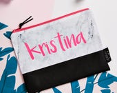 Marble and Neon Pink Personalised  Zipper Pouch