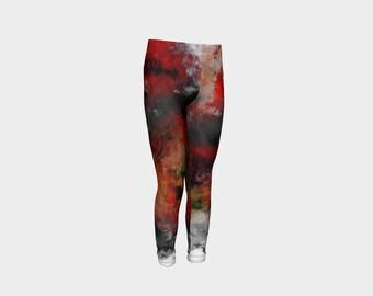 Red Hope Abstract Art Flower Leggings Kids 4-12 years/urban clothes for kids/Kids Leggings, PreTeen Leggings, Girls Children Flower Pants
