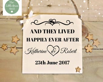 Wedding Gift  Sign And They Lived Happily Ever After  Anniversary Plaque Sign Personalised Keepsake 20 x20cm