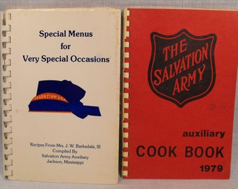 Two Vintage Salvation Army Cook Books: Salvation Army Auxiliary Jackson, Mississippi  & Muscle Shoals Area, Alabama