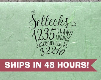Custom Family Address Stamp, Sellecks Script Font, Personalized Return Address Stamps, Anniversary & Housewarming Gifts