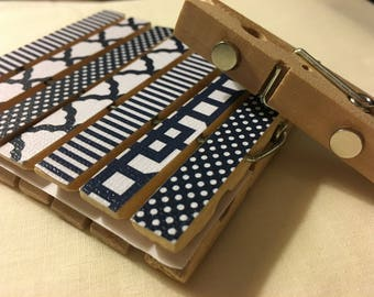 Clothespin Magnets - Blue and White