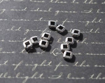 10 square silver plated 5mm rondelle beads